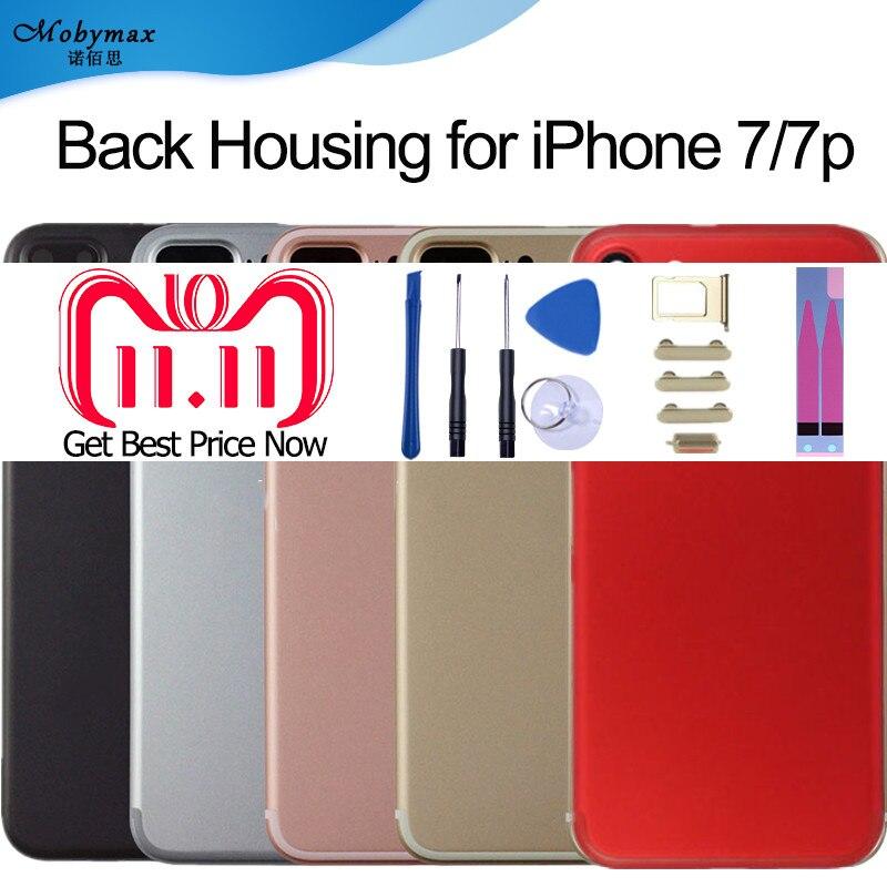 Carcasa trasera del chasis para iPhone 7 7 Plus A1661 A1784 cubierta de la carcasa de la batería Coque Fundas + logotipo y botones y bandeja Sim + pegatina + IMEI personalizada