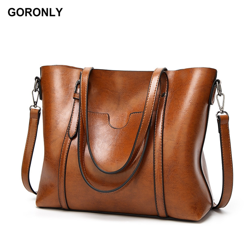GORONLY Brand Leather Tote Bag Women Handbags Female Designer Shoulder Bags  Casual Messenger Bag Fashion Ladies 28f62b4c6f