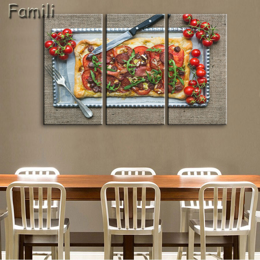 Us 9 17 36 off3pcs kitchen food pizza with colorful vegetables wall art painting the picture print on canvas food pictures for home decor deco in
