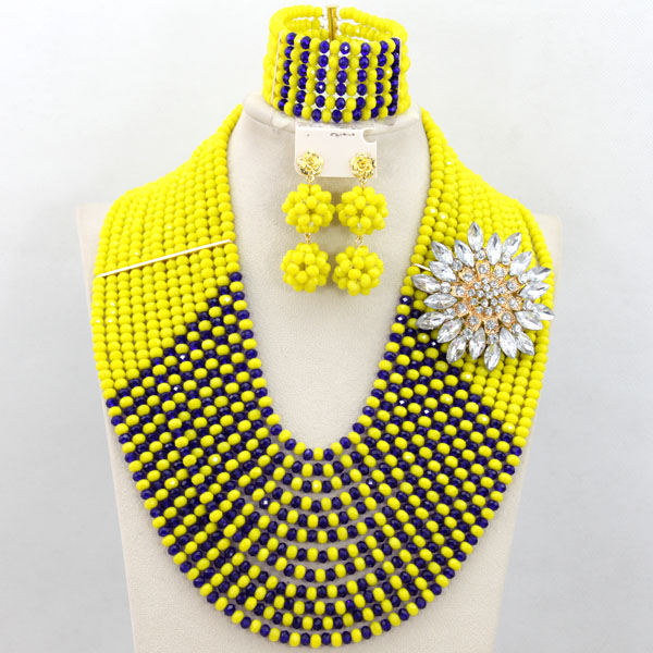 Yellow Blue Crystal Beads African Costume Jewelry Set Nigerian Beads Necklace African Wedding Jewelry Set Free Shipping ABF057 цена и фото
