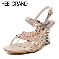 HEE GRAND Crystal Gladiator Sandals 2017 New Bling Sexy High Heels Platform Wedges Sandals Casual Gold