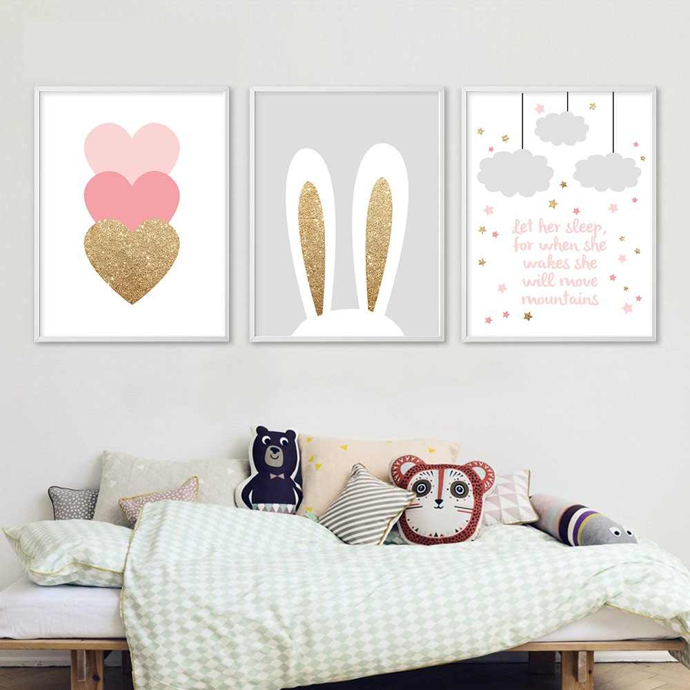 7ae404b719 Cartoon Rabbit Pink Heart Wall Art Canvas Poster Nursery Quotes Print  Nordic Painting Wall Picture Kids Living Room Decoration