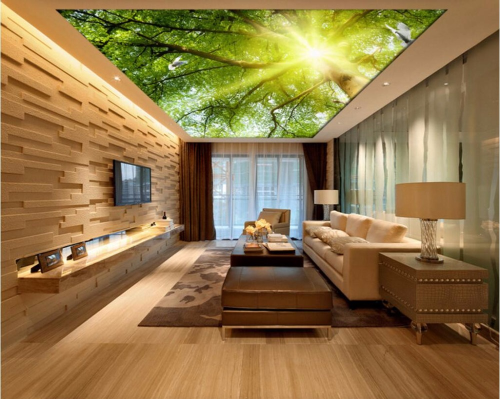 Online Buy Wholesale Ceiling Murals Wallpaper From China Ceiling - Wallpaper designs for living room wall