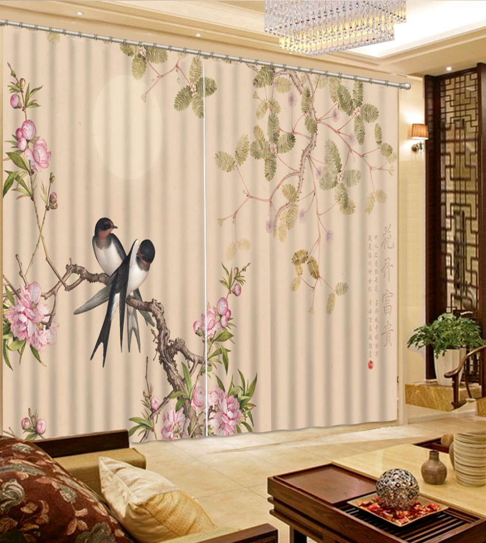 3D Curtain Home Bedroom Decoration Depicting Flower Pattern Swallow Curtains Curtains Blackout Shade Window Curtains