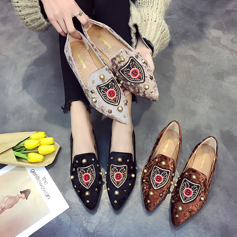 Spring Flats Women Shoes Loafers   Suede     Leather   Elegant Low Heels Slip On Footwear Female Pointed Toe slip on shoes for women