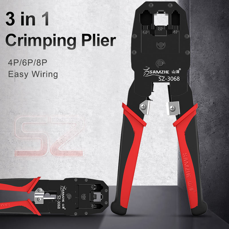SAMZHE Crimping Plier Wire Tracker RJ11/12/45 Cable Crimper ... on