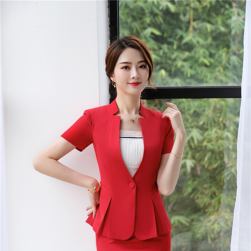 Novelty Red Short Sleeve 2019 Summer Formal Blazers and Jackets Coat For Ladies Office Business Tops Outwear Clothes OL Styles