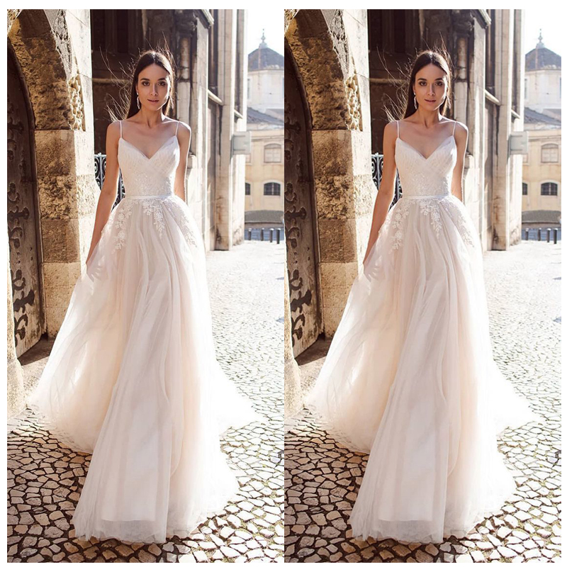 LORIE A Line Organza Wedding Dress 2019 Vestido De Noiva Princess Bridal Dress  Backless Spaghetti Straps Beach Wedding Dresses