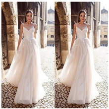 LORIE A Line Organza Wedding Dress 2019 Vestido De Noiva Princess Bridal Dress  Backless Spaghetti Straps Beach Wedding Dresses