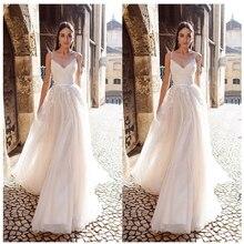 LORIE EINE Linie Organza Hochzeit Kleid 2019 Vestido De Noiva Prinzessin Braut Kleid Backless Spaghetti trägern Strand Hochzeit Kleider