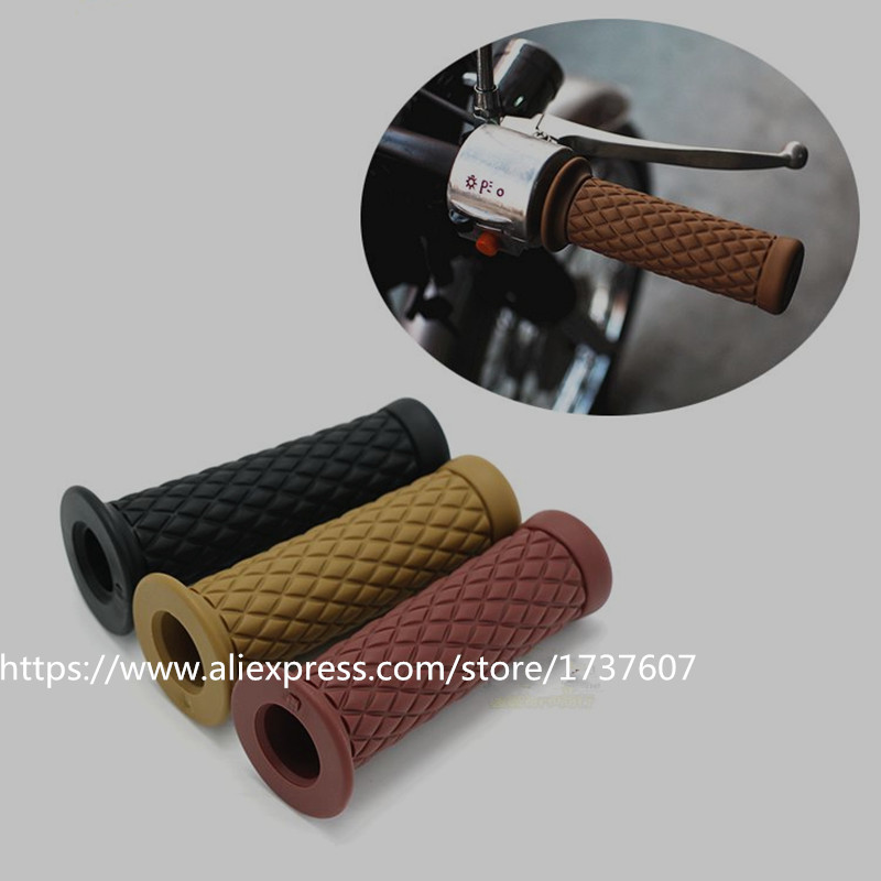 Universal 7/8'' 22MM Vintage rubber Motorcycle handle grips coffee Motorbike handlebar grips 3 Colors Available