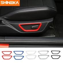 SHINEKA стайлинга автомобилей 2 шт. Новое поступление ABS внутреннее автокресло Кнопка регулировки рамки Накладка для Ford Mustang 2015 +