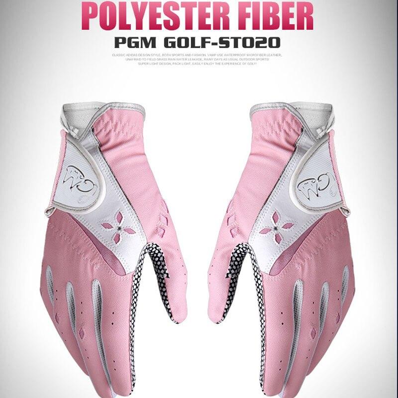1Pair Pgm Women Soft Golf Gloves Left Right Hand Sunscreen Gloves Non-Slip Breathable Sport Mittens Golf Accessories D0514
