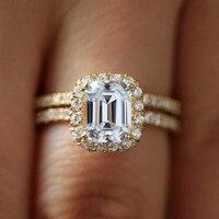 1.2CT 7X5 мм Изумрудный Блестящий огранка DEF VVS1 обручальное кольцо Твердое 14 к БЕЛОЕ ЗОЛОТО Halo Fow женские красивые украшения