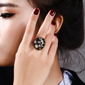 Black big face fantastic Ring Trendy jewelry With High quality clear crystal Large CZ Ring