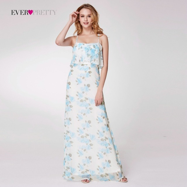 Bridesmaid Dresses Long EP07236 Chiffon A-line Sleeveless Floral Printed  Beach Style Party Dresses for Women 87a9c5794a13