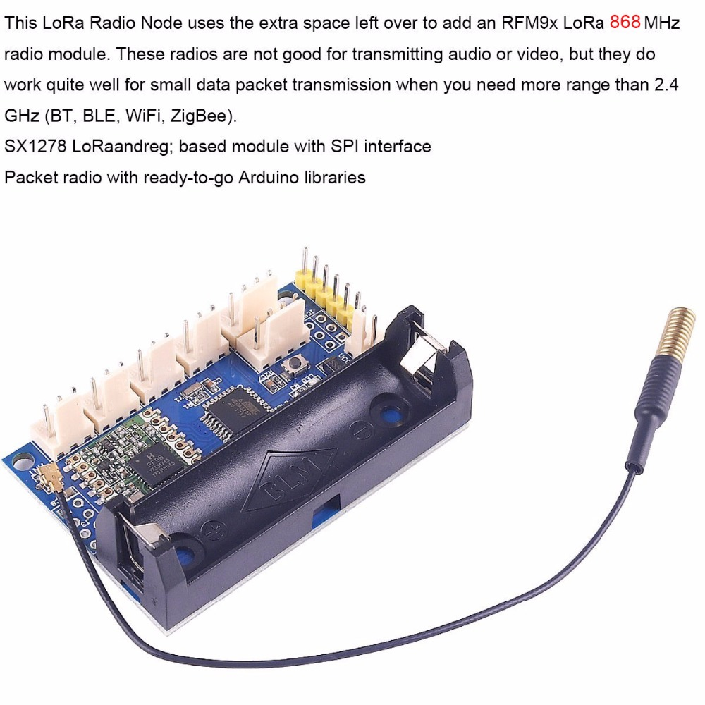 5PCS 868mhz LoRa Radio Node V1 0 IOT Wireless Transmission Lora Module  RFM95 SX1276 for Arduino ATmega328P 3 7-12V uFL Antenna