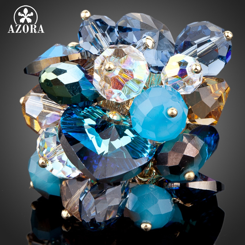 AZORA Inconceivable Gold Color Stellux Austrian Crystal Water Drop Adjustable Size Ring TR0056 azora sparking sea blue top stellux austrian crystal octopus animal pin brooch tp0051