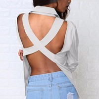 KYMAKUTU Women Cross Backless Blouse Sexy Turn Down Collar Shirts White Grey Solid Tops Female With