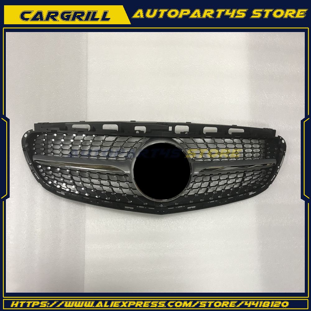 Diamond Silver Grille front <font><b>Grill</b></font> for <font><b>Mercedes</b></font> Benz <font><b>W212</b></font> E Class E350 E550 2014+ image