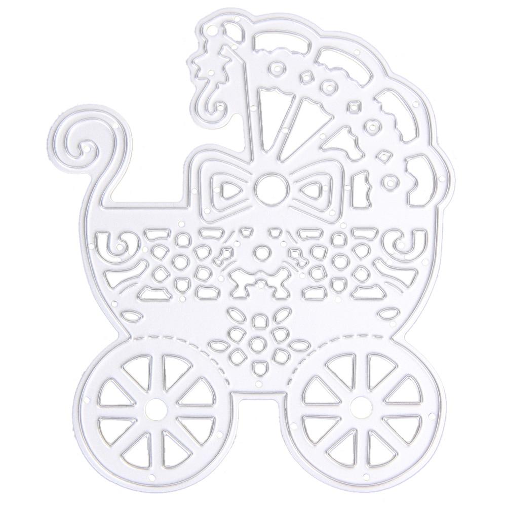 Scrapbook paper cart - 1 Pcs Stencil Antique Carbon Steel Metal Cutting Dies Stencil Baby Carriage For Diy Scrapbooking Paper