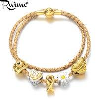 RUIMO Genuine Leather Braided Rope Women Bracelet Plating Gold Beaded Bracelet Jewelry Heart Beads Bracelet For Mom Love Gifts