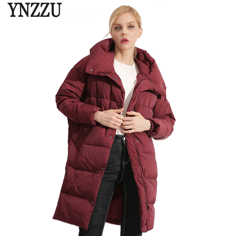 Brand Elegant Women's   Down   Jacket 2018 Winter Pink Mid-Long Duck   Down     Coat   Thick Warm Hooded Loose Jacket Women Parka AO757