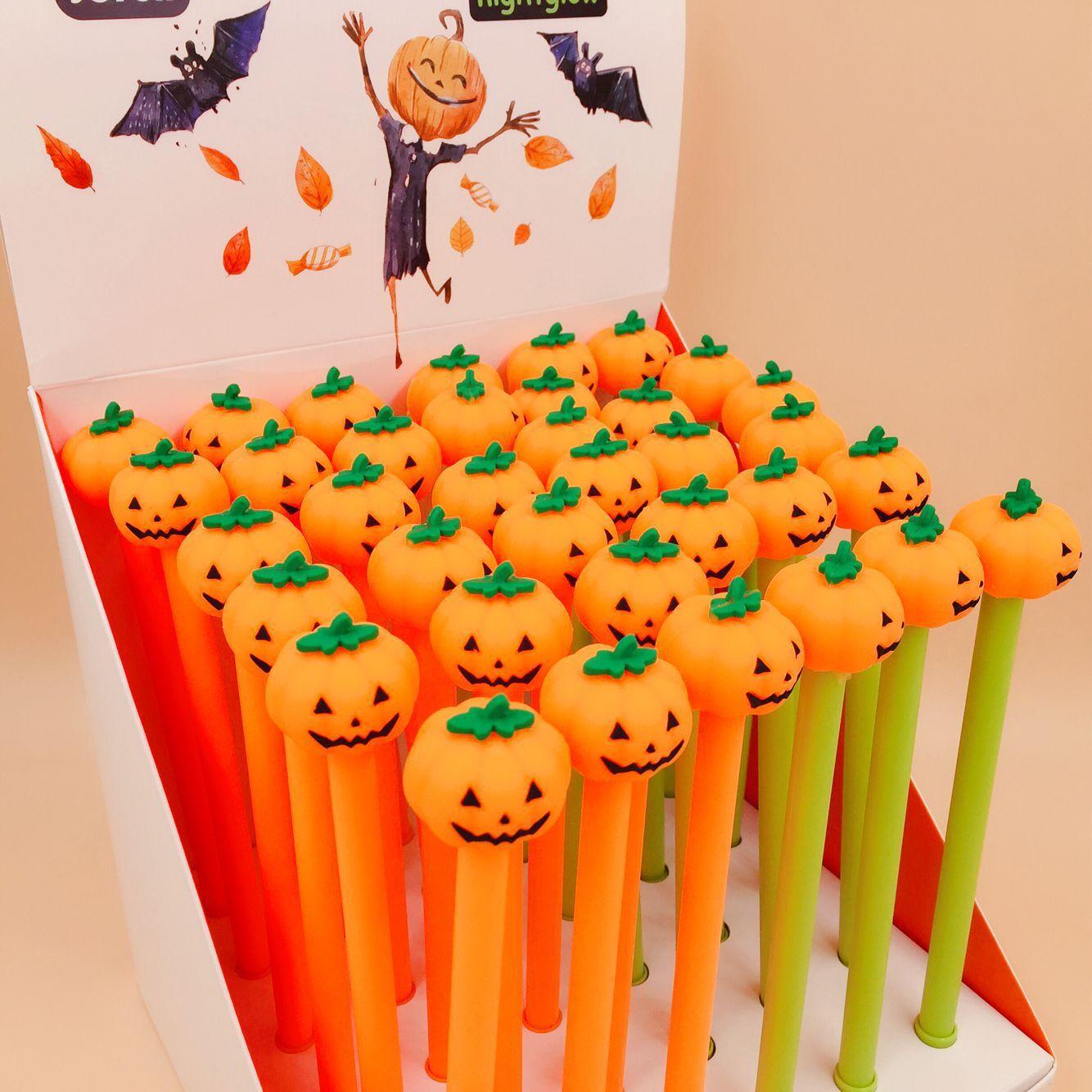 2 Pcs/lot Halloween Pumpkin Gel Pen Signature Pen Escolar Papelaria School Office Supply Promotional Gift