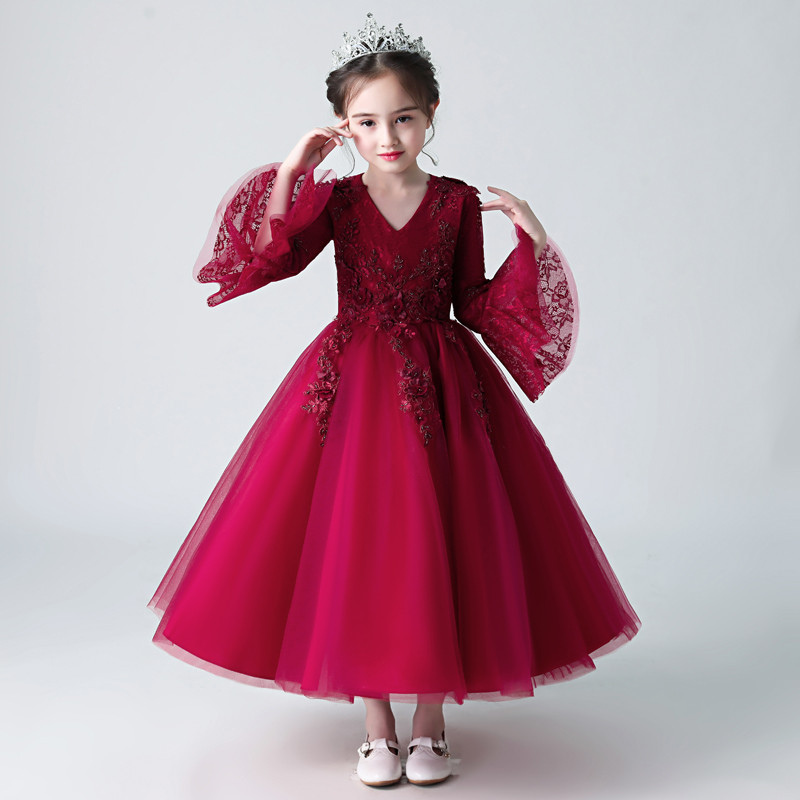 2018 New Children Girls Elegant Red/Pink V-collor Flare Sleeves Birthday Wedding Party Princess Lace Dress Kids Piano Host Dress light peach allover lace three fourth sleeves dress pink