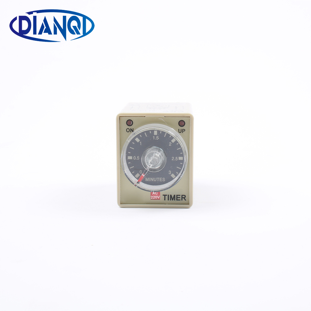 AH3-2 AC 220V 8 Pin DPDT 0-1 Hours 1H Power on Delay Timer Time Relay with socket base free shipping dc 24v 0 60s 60 seconds rotary knob timer time delay relay 8 pin ah3 3