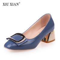 2018 New Arrived Patent Leather Fashion Buckle Women Pumps Thick Mid Heel Shallow Comfort Summer Pumps All-match OL Working   Shoe