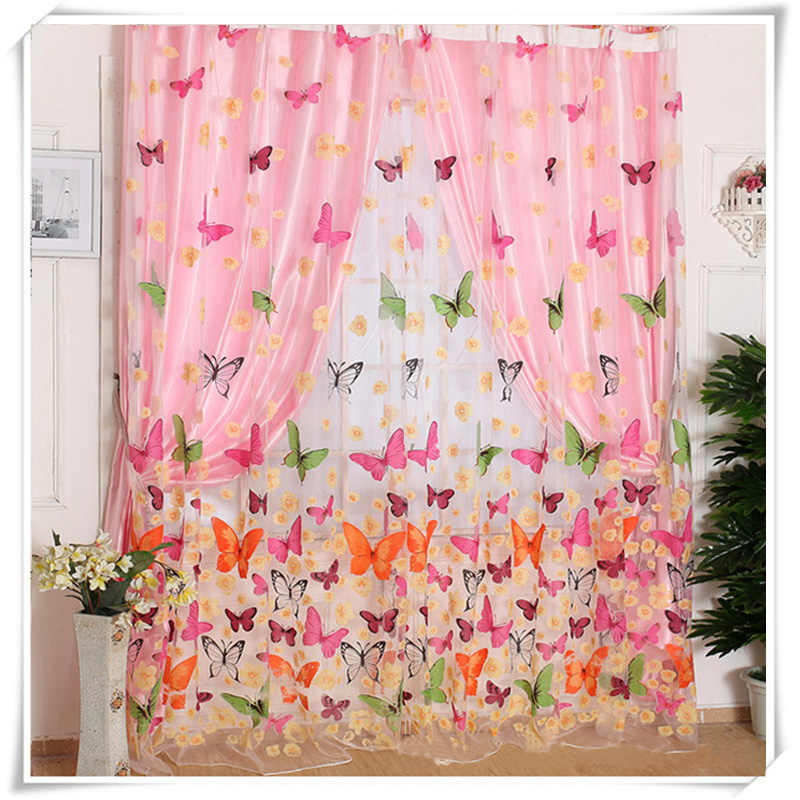 Tulle Window Curtain door Sheer Butterfly Screens 1pcs 2m*1m Transparent White fashion new Fashion New Romantic