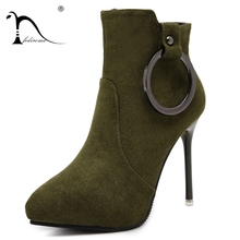 FEDIROMA 2017 Handmade Boots for Women short fur high heel boots Autumn Winter shoes Woman pointed Toe Ankle boots