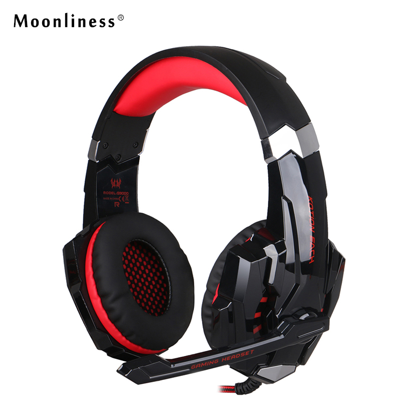 Moonliness Wired LED Light Headphones G9000 Gaming Headset Deep Bass Stereo Computer Game Headphone with Mic Professional Gamer rock y10 stereo headphone microphone stereo bass wired earphone headset for computer game with mic
