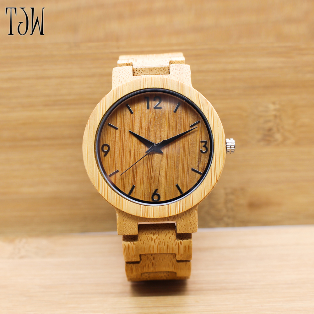 TJW 2017 Men's Bamboo Wooden Wristwatches With Genuine Leather Band Luxury Wood Watches new style Japan movement wooden luxury fashion japan quartz men wood watch arabic big number vintage genuine leather band bamboo wooden wristwatches antibrittle
