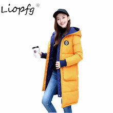 Cotton clothing 2017 winter new Cotton clothing Lady down jacket thick loose both sides wear long coat XW3515