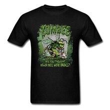 Virus Plus Iguala o Zombie Killer Bee Estilo Estranho T shirt Design do Dia Das Bruxas Dos Desenhos Animados Topos & T Para Os Homens o Transporte Da Gota