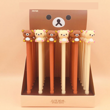36Pcs/lot Kawaii Rilakkuma Gel Pen Cute Bear Japanese Stationery 0.5mm Black Ink Kids Gift Promation School Office Supplies