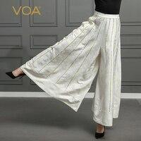 VOA шелковые брюки палаццо плюс размер 5XL свободные широкие брюки длинные брюки женские повседневные белые Бохо с высокой талией pantolon Mori K328