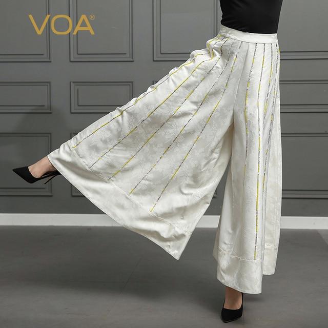 93a1a91345932 VOA Silk Palazzo Pants Plus Size 5XL Loose Wide Leg Pants Long Trousers  Women Casual White Boho High Waist pantolon Mori K328