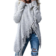 2017 Autumn and Winter Irregular Tassel Long Shawl Knitting Sweater