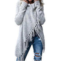 2017 Autumn And Winter Irregular Tassel Long Shawl Knitting Sweater