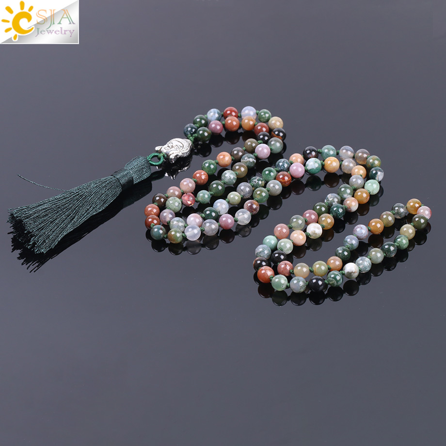 CSJA 6mm Natural Indian Agates Onyx Beads Mens Tassel Necklaces Stone Healing 10