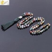 CSJA 6mm Natural Indian Agates Onyx Beads Mens Tassel Necklaces Stone Healing 108 Mala Prayer Beaded Reiki Buddhist Jewelry F170