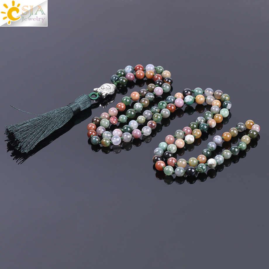 Csja 6 мм натуральные индийские Агаты бусы из оникса мужское ожерелье с кисточками камень заживление 108 Мала Молитва бисером рейки буддийские ювелирные изделия F170