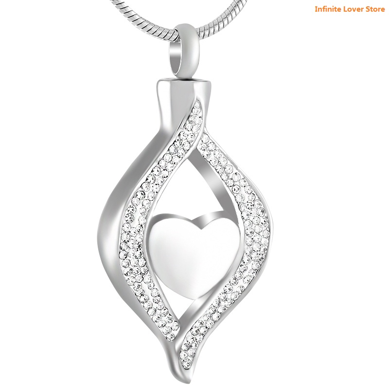 KLH9240 Wholesale Clear Tear Drop Inlay Elegant Crystal Stainless Steel Pet Human Cremation Jewelry Ashes Pendant