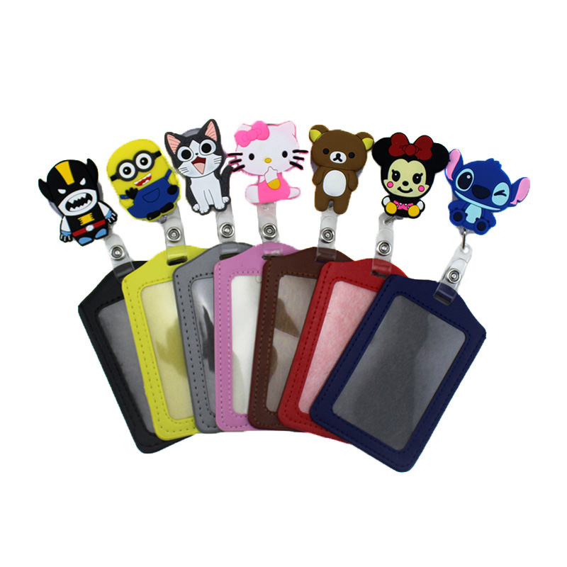 Cartoon Silicone Card Case Holder 10*7cm Bank Credit Card Women Girl Bus ID Holders Identity Badge with Retractable Reel for Kid fhadst no zipper cheap bank credit card holders bus id holders identity red yellow blue badge with retractable reel wholesale