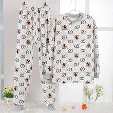 Купить с кэшбэком Cotton fleece children Pijama set for Winter Printing Youth boys warmed Pajamas kids T-shirt+pants 2-pieces Pyjama age 6y-14y