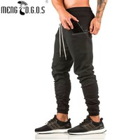 2018 European and American brands muscle fitness brothers zipper feet pants fitness trousers men's pants men's gyms trousers