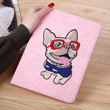 3D embroidery Tablet Case For ipad MiNi 1 2 3 4 Magnetic Smart Flip Bulldog Cute Cartoon Apple Mini Cover case